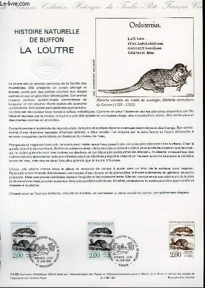 DOCUMENT PHILATELIQUE OFFICIEL N°24-88 - HISTOIRE NATURELLE DE BUFFON - LA LOUTRE (N°2539 YVERT ET TELLIER)