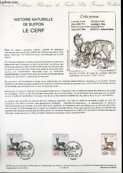 DOCUMENT PHILATELIQUE OFFICIEL N°25-88 - HISTOIRE NATURELLE DE BUFFON - LE CERF (N°2540 YVERT ET TELLIER)