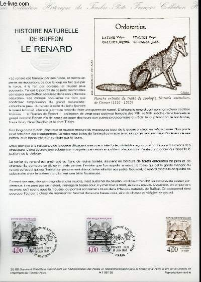 DOCUMENT PHILATELIQUE OFFICIEL N°26-88 - HISTOIRE NATURELLE DE BUFFON - LE RENARD (N°2541 YVERT ET TELLIER)