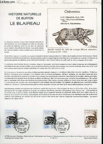 DOCUMENT PHILATELIQUE OFFICIEL N�27-88 - HISTOIRE NATURELLE DE BUFFON - LE BLAIREAU (N�2542 YVERT ET TELLIER)