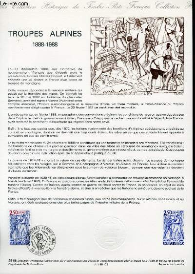 DOCUMENT PHILATELIQUE OFFICIEL N°28-88 - TROUPES ALPINES 1888-1988 (N°2543 YVERT ET TELLIER)