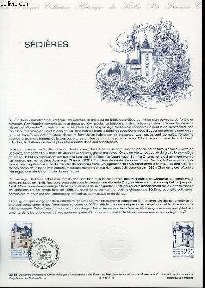 DOCUMENT PHILATELIQUE OFFICIEL N°30-88 - SEDIERES (N°2546 YVERT ET TELLIER)