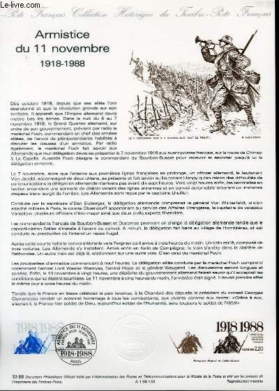 DOCUMENT PHILATELIQUE OFFICIEL N�33-88 - ARMISTICE DU 11 NOVEMBRE 1918-1988 (N�2549 YVERT ET TELLIER)
