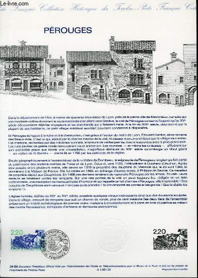 DOCUMENT PHILATELIQUE OFFICIEL N°34-88 - PEROUGES (N°2550 YVERT ET TELLIER)