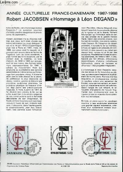 DOCUMENT PHILATELIQUE OFFICIEL N°35-88 - ANNEE CULTURELLE FRANCE-DANEMARK 1987-1988 ROBERT JACOBSEN