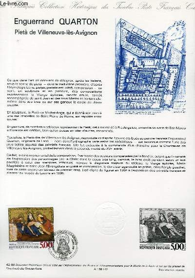 DOCUMENT PHILATELIQUE OFFICIEL N°42-88 - ENGUERRAND QUARTON -PIETA DE VILLENEUVE LES AVIGNON (N°2558 YVERT ET TELLIER)