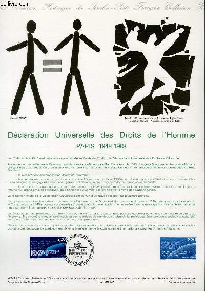 DOCUMENT PHILATELIQUE OFFICIEL N°43-88 - DECLARATION UNIVERSELLE DES DROITS DE L'HOMME PARIS 1948 - 1988 (N°2559 YVERT ET TELLIER)