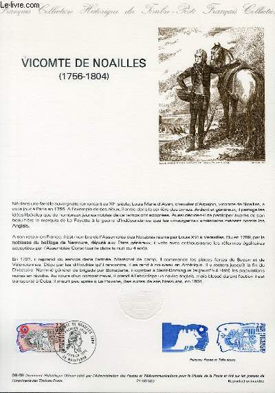 DOCUMENT PHILATELIQUE OFFICIEL N°09-89 - VICOMTE DE NOAILLE 1756-1804 (N°2566 YVERT ET TELLIER)