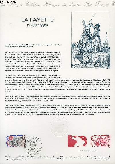 DOCUMENT PHILATELIQUE OFFICIEL N°10-89 - LA FAYETTE 1757-1834 (N°2567 YVERT ET TELLIER)