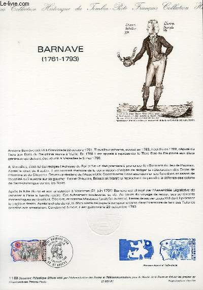 DOCUMENT PHILATELIQUE OFFICIEL N°11-89 - BARNAVE 1761-1793 (N°2568 YVERT ET TELLIER)
