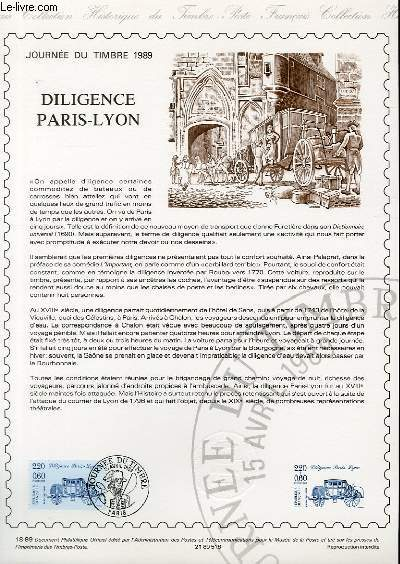 DOCUMENT PHILATELIQUE OFFICIEL N°18-89 - JOURNEE DU TIMBRE 1989 - DILIGENCE PARIS-LYON (N°2577 YVERT ET TELLIER)