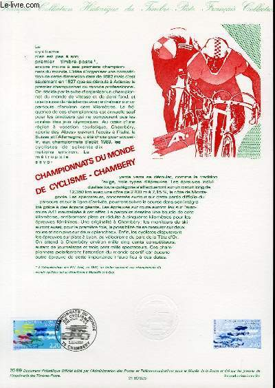 DOCUMENT PHILATELIQUE OFFICIEL N°25-89 - CHAMPIONNATS DU MONDE DE CYCLISME-CHAMBERY (N°2590 YVERT ET TELLIER)