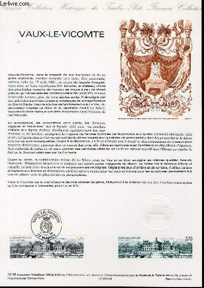 DOCUMENT PHILATELIQUE OFFICIEL N�29-89 - VAUX LE VICOMTE (N�2587 YVERT ET TELLIER)