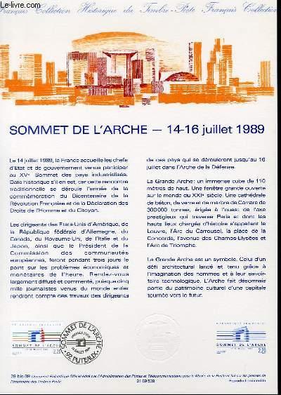DOCUMENT PHILATELIQUE OFFICIEL N°29BIS-89 - SOMMET DE L'ARCHE - 14-16 JUILLET 1989 (N°2600 YVERT ET TELLIER)