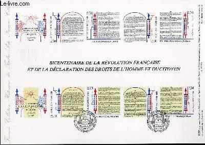 DOCUMENT PHILATELIQUE OFFICIEL N�31-89 - BICENTENAIRE DE LA REVOLUTION FRANCAISE ET DE LA DECLARATION DES DROITS DE L'HOMME ET DU CITOYEN (2602-05 YVERT ET TELLIER)