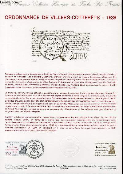 DOCUMENT PHILATELIQUE OFFICIEL N°33-89 - ORDONNANCE DE VILLIERS-COTTERET 1539 (N°2609 YVERT ET TELLIER)