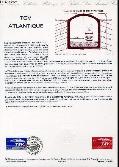 DOCUMENT PHILATELIQUE OFFICIEL N�34-89 - TGV ATLANTIQUE (N�2607 YVERT ET TELLIER)