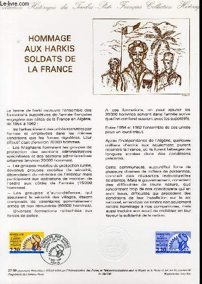 DOCUMENT PHILATELIQUE OFFICIEL N°37-89 - HOMMAGE AUX HARKIS SOLDATS DE LA FRANCE (N°2613 YVERT ET TELLIER)