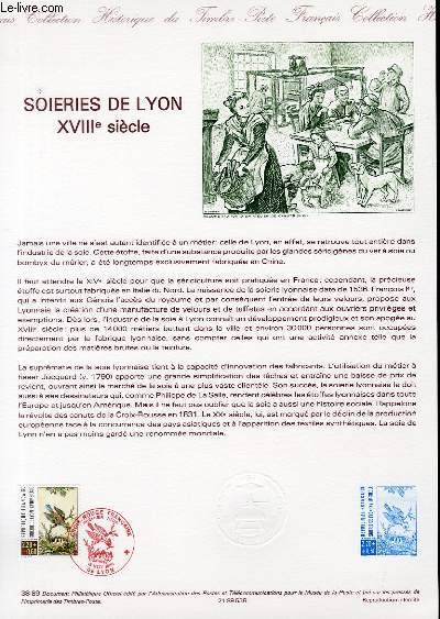 DOCUMENT PHILATELIQUE OFFICIEL N�38-89 - CROIX ROUGE - SOIERIES DE LYON - 18� SIECLE (N�2612 YVERT ET TELLIER)