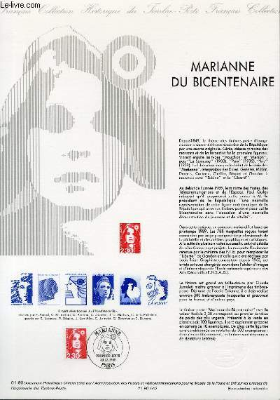 DOCUMENT PHILATELIQUE OFFICIEL N°01-90 - MARIANNE DU BICENTENAIRE (N°2614 YVERT ET TELLIER)