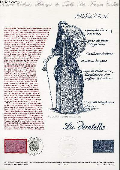 DOCUMENT PHILATELIQUE OFFICIEL N°05-90 - LA DENTELLE (N°2631 YVERT ET TELLIER)