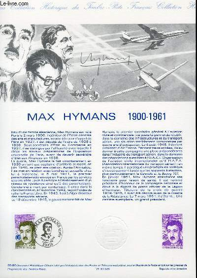 DOCUMENT PHILATELIQUE OFFICIEL N°08-90 - MAX HYMANS 1900-1961 (N°2638 YVERT ET TELLIER)