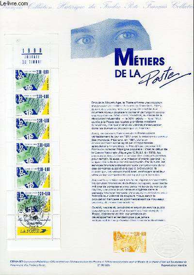 DOCUMENT PHILATELIQUE OFFICIEL N°09BIS-90 - CARNET JOURNEE DU TIMBRE - METIERS DE LA POSTE (N°2640 YVERT ET TELLIER)