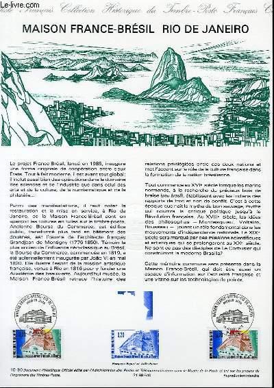 DOCUMENT PHILATELIQUE OFFICIEL N°10-90 - MAISON FRANCE-BRESIL - RIO DE JANEIRO (N°2661 YVERT ET TELLIER)