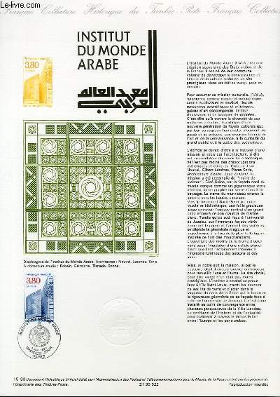 DOCUMENT PHILATELIQUE OFFICIEL N°15-90 - INSTITUT DU MONDE ARABE (N°2645 YVERT ET TELLIER)