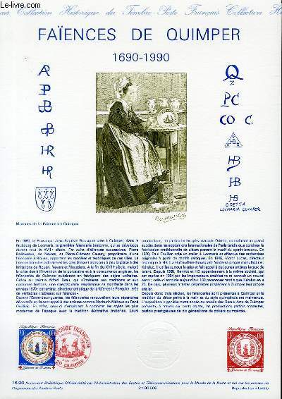 DOCUMENT PHILATELIQUE OFFICIEL N°16-90 - CROIX ROUGE - FAIENCES DE QUIMPER 1690-1990 (N°2646 YVERT ET TELLIER)