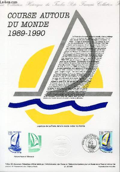 DOCUMENT PHILATELIQUE OFFICIEL N°18BIS-90 - COURSE AUTOUR DU MONDE 1989-1990 (N°2648 YVERT ET TELLIER)