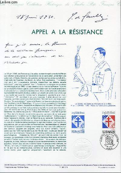 DOCUMENT PHILATELIQUE OFFICIEL N�20-90 - APPEL A LA RESISTANCE (N�2656 YVERT ET TELLIER)