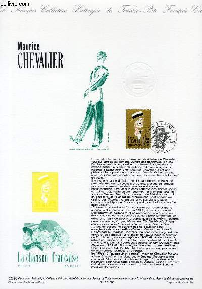 DOCUMENT PHILATELIQUE OFFICIEL N�22-90 - MAURICE CHEVALIER (N�2650 YVERT ET TELLIER)