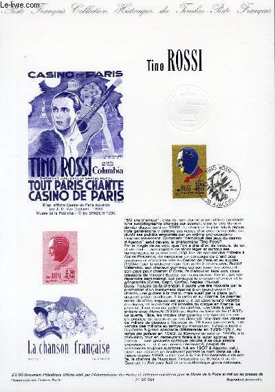 DOCUMENT PHILATELIQUE OFFICIEL N°23-90 - TINO ROSSI (N°2651 YVERT ET TELLIER)