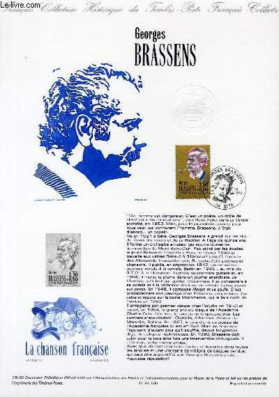 DOCUMENT PHILATELIQUE OFFICIEL N°25-90 - GEORGES BRASSENS (N°2654 YVERT ET TELLIER)