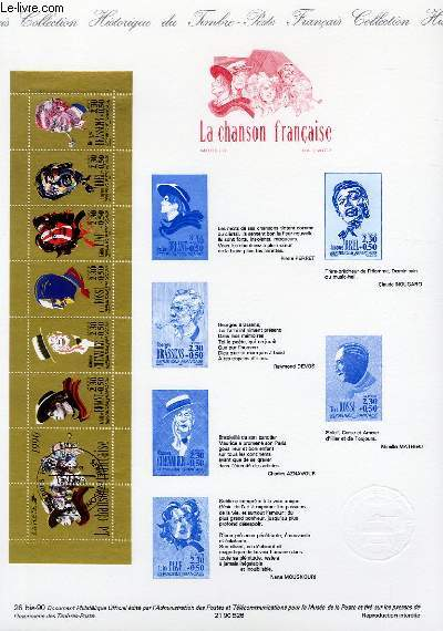 DOCUMENT PHILATELIQUE OFFICIEL N°26BIS-90 - CARNET LA CHANSON FRANCAISE (N°2655 YVERT ET TELLIER)