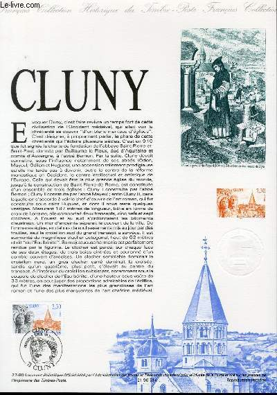 DOCUMENT PHILATELIQUE OFFICIEL N�27-90 - ABBAYE DE CLUNY (N�2657 YVERT ET TELLIER)