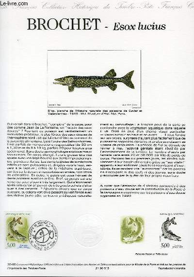 DOCUMENT PHILATELIQUE OFFICIEL N°30-90 - NATURE DE FRANCE : BROCHET ESOX LUCIUS (N°2663 YVERT ET TELLIER)