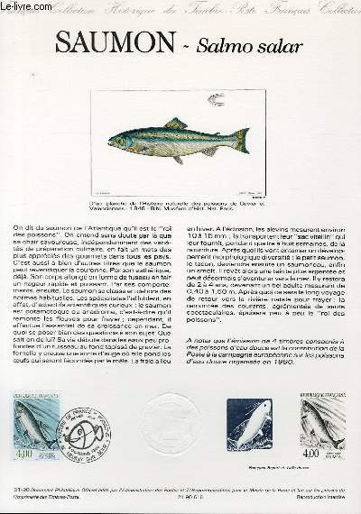 DOCUMENT PHILATELIQUE OFFICIEL N°31-90 - NATURE DE FRANCE : SAUMON - SALMON SALAR (N°2664 YVERT ET TELLIER)