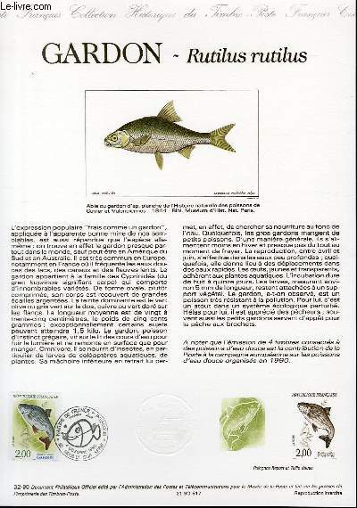 DOCUMENT PHILATELIQUE OFFICIEL N°32-90 - NATURE DE FRANCE : GARDON - RUTILUS RUTILUS (N°2665 YVERT ET TELLIER)
