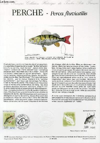 DOCUMENT PHILATELIQUE OFFICIEL N°33-90 - NATURE DE FRANCE : PERCHE - PERCA FLUVIATILIS (N°2666 YVERT ET TELLIER)