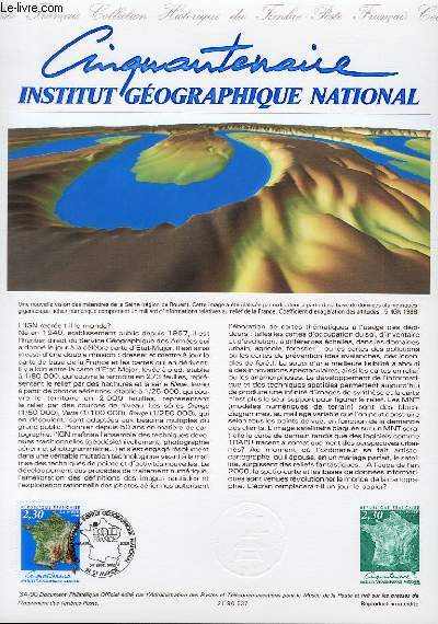 DOCUMENT PHILATELIQUE OFFICIEL N°34-90 - 50° INSTITUT GEOGRAPHIQUE NATIONAL (N°2662 YVERT ET TELLIER)