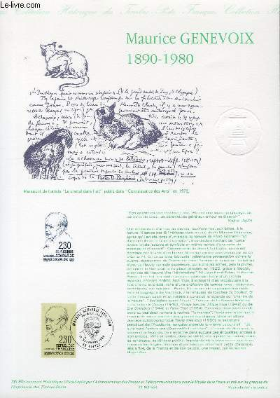 DOCUMENT PHILATELIQUE OFFICIEL N°36-90 - MAURICE GENEVOIX 1890-1980 (N°2671 YVERT ET TELLIER)