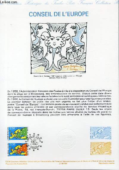 DOCUMENT PHILATELIQUE OFFICIEL N�CE-90 - CONSEIL DE L'EUROPE (N�SERVICE 104-105 YVERT ET TELLIER)