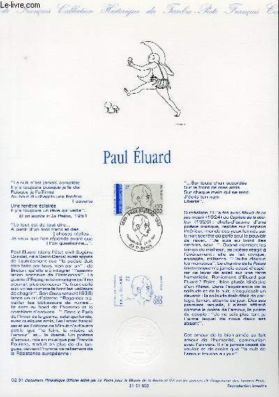 DOCUMENT PHILATELIQUE OFFICIEL N°02-91 - PAUL ELUARD (N°2681 YVERT ET TELLIER)