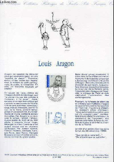 DOCUMENT PHILATELIQUE OFFICIEL N°04-91 - LOUIS ARAGON (N°2683 YVERT ET TELLIER)