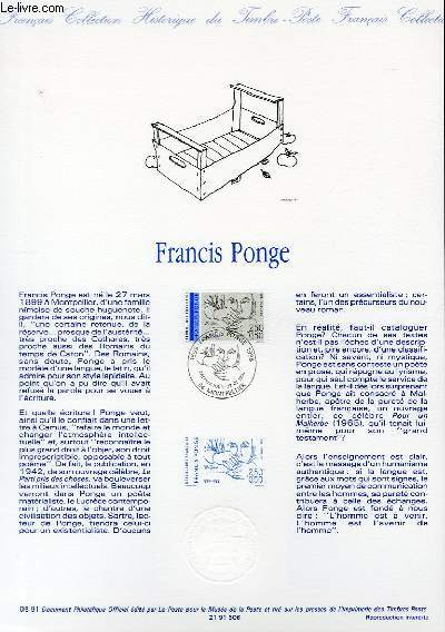 DOCUMENT PHILATELIQUE OFFICIEL N�05-91 - FRANCIS PONGE (N�2684 YVERT ET TELLIER)