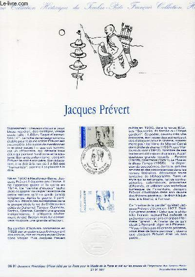 DOCUMENT PHILATELIQUE OFFICIEL N°06-91 - JACQUES PREVERT (N°2685 YVERT ET TELLIER)
