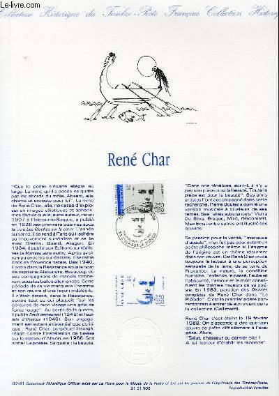 DOCUMENT PHILATELIQUE OFFICIEL N°07-91 - RENE CHAR (N°2686 YVERT ET TELLIER)