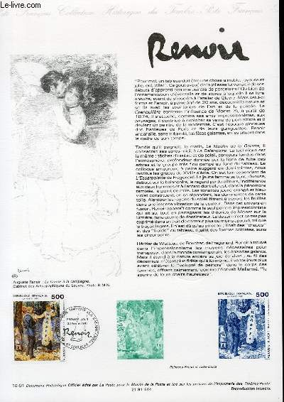 DOCUMENT PHILATELIQUE OFFICIEL N�10-91 - RENOIR (N�2692 YVERT ET TELLIER)